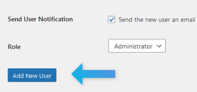 "Screenshot of the WordPress admin interface, highlighting the ""Add New User"" button."